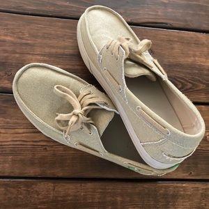 Sanuk Men's Casa Barco Boat Khaki Shoes Size 8 1/2